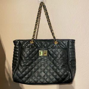 Aldo quilted blck and gold women's handbag